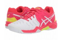 SALE ASICS Kids GEL-Resolution® 7 GS Tennis (Little Kid/Big Kid) White/Laser Pink