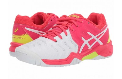 BLACK FRIDAY SALE ASICS Kids GEL-Resolution® 7 GS Tennis (Little Kid/Big Kid) White/Laser Pink