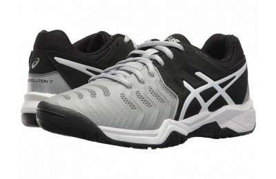 Sales - ASICS Kids GEL-Resolution® 7 GS Tennis (Little Kid/Big Kid) Mid Grey/Black/White