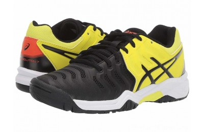 Sales - ASICS Kids GEL-Resolution® 7 GS Tennis (Little Kid/Big Kid) Black/Sour Yuzu