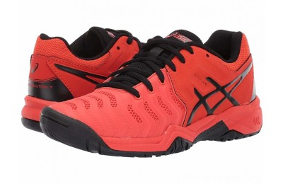 SALE ASICS Kids GEL-Resolution® 7 GS Tennis (Little Kid/Big Kid) Cherry Tomato/Black