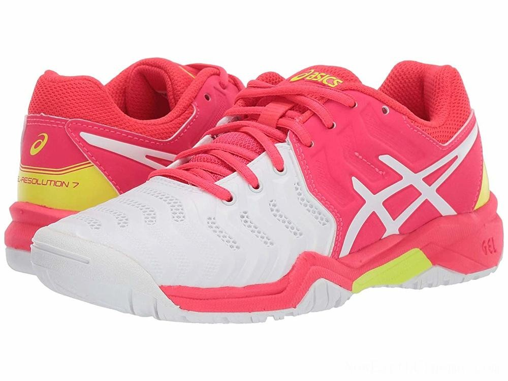 Sales - ASICS Kids GEL-Resolution® 7 GS Tennis (Little Kid/Big Kid) White/Laser Pink