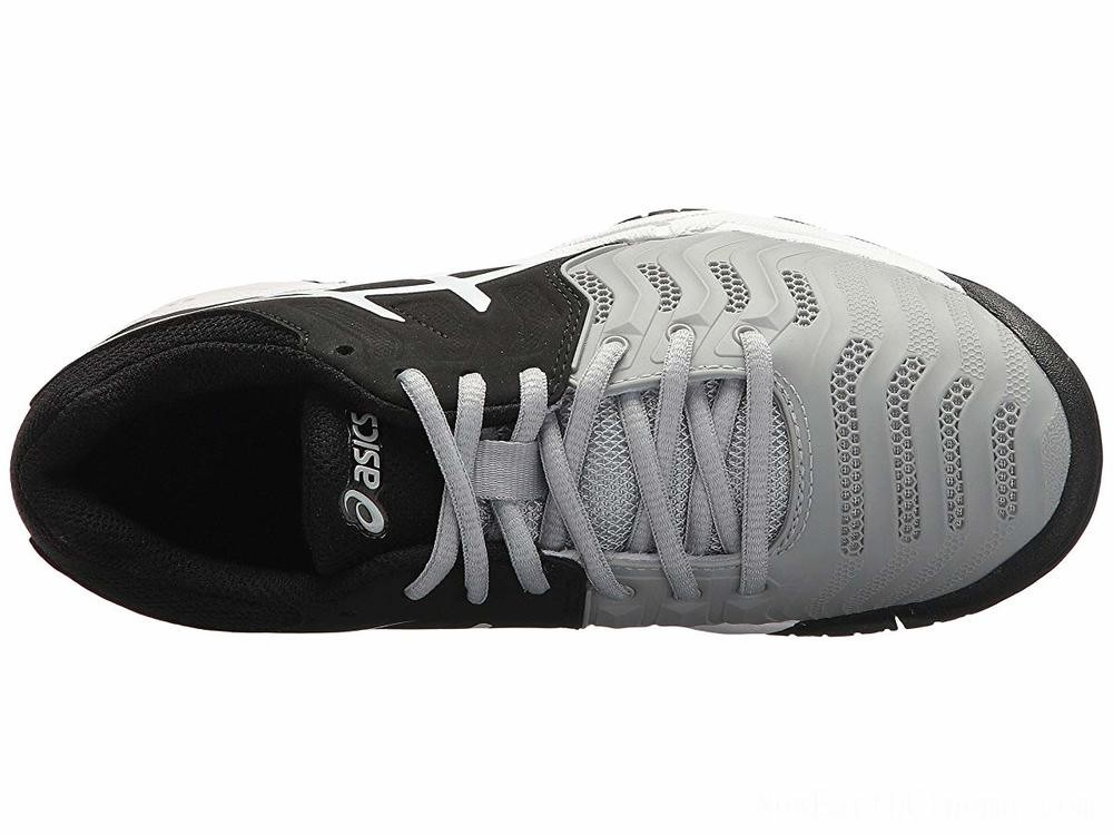 SALE ASICS Kids GEL-Resolution® 7 GS Tennis (Little Kid/Big Kid) Mid Grey/Black/White