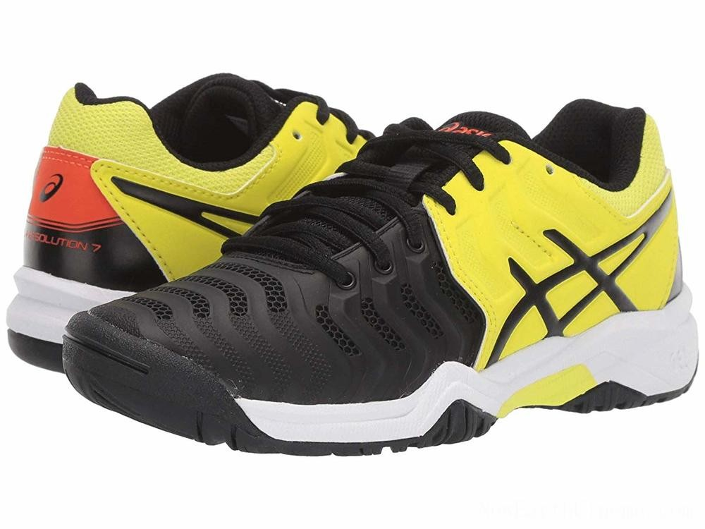 BLACK FRIDAY SALE ASICS Kids GEL-Resolution® 7 GS Tennis (Little Kid/Big Kid) Black/Sour Yuzu