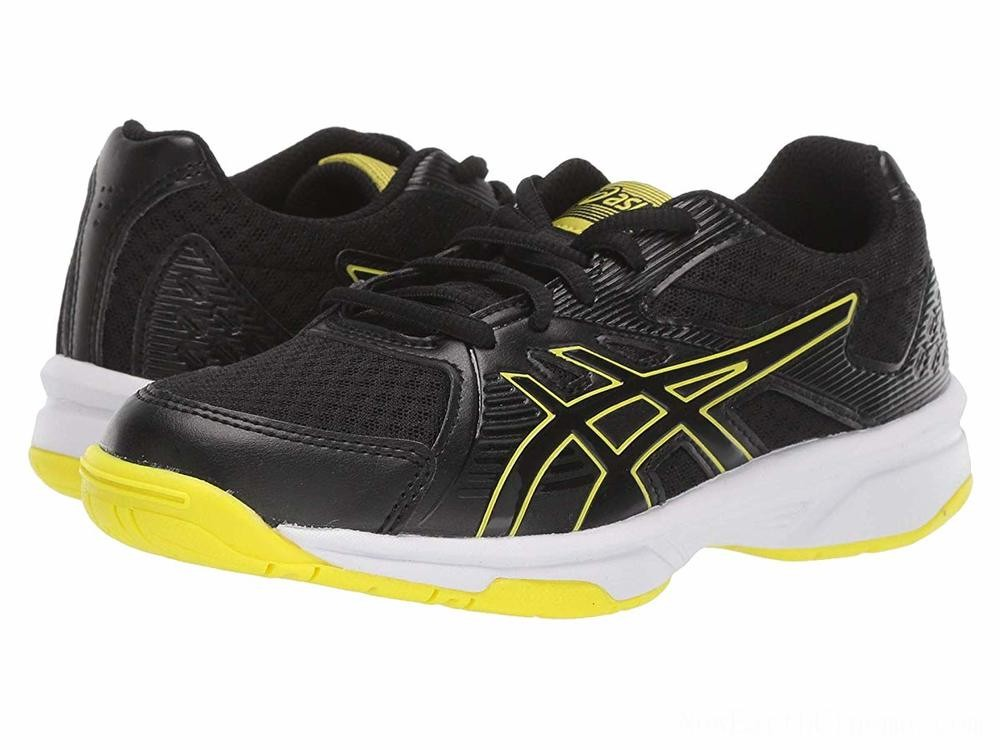 Sales - ASICS Kids Upcourt 3 Volleyball (Little Kid/Big Kid) Black/Sour Yuzu