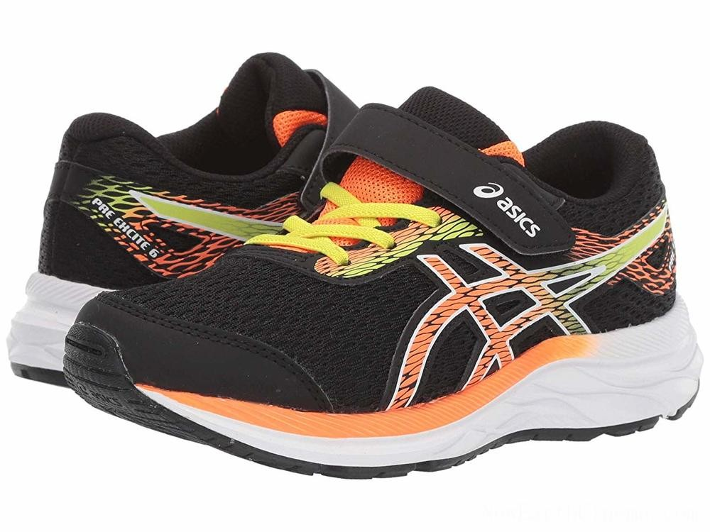 SALE ASICS Kids Gel-Excite 6 (Toddler/Little Kid) Black/Shocking Orange